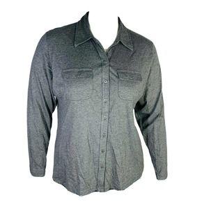 Karen Scott Neck Knit Top Gray Plus Sz 0X 12W